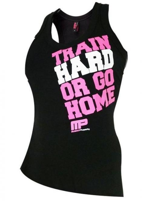 MusclePharm Train Hard or Go Home Tank Top, Schwarz/Pink